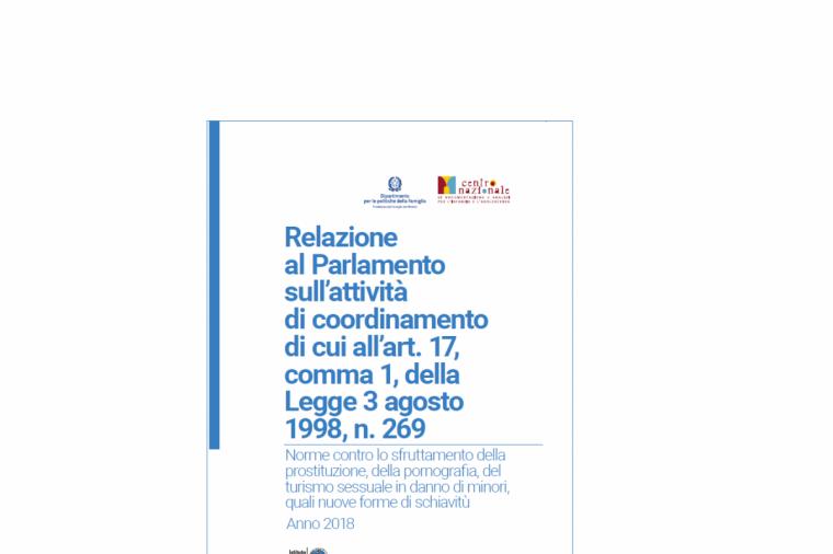 Relazione al Parlamento in materia di contrasto all'abuso e allo sfruttamento - Anno 2018